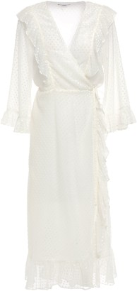 Ganni Jasmine Ruffled Flocked Gauze Midi Wrap Dress