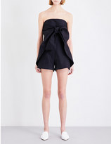 PAPER LONDON Bow-detail woven playsuit