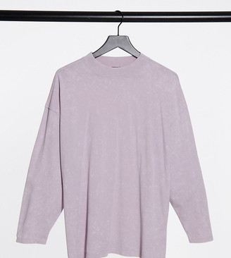 ASOS DESIGN Maternity boxy top with seam detail and long sleeve in orchid ice