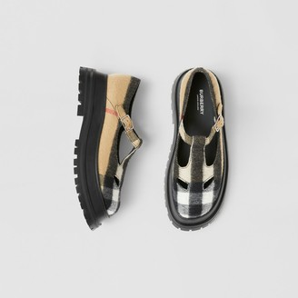 Burberry Check Wool T-bar Shoes