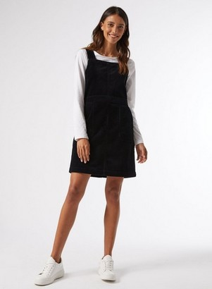 Dorothy Perkins Womens Black Cord Pinafore Dress