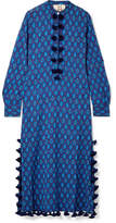 Figue Paolina Tasseled Printed Cotton-blend Gauze Kaftan - Cobalt blue