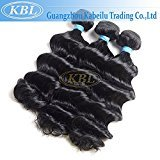 "KBL Grade 5A Brazilian Loose Wave Hair 3 Bundles 100% Natural Virgin Remy Hair Extensions Jet Black#1 (16"" 16"" 16"")"