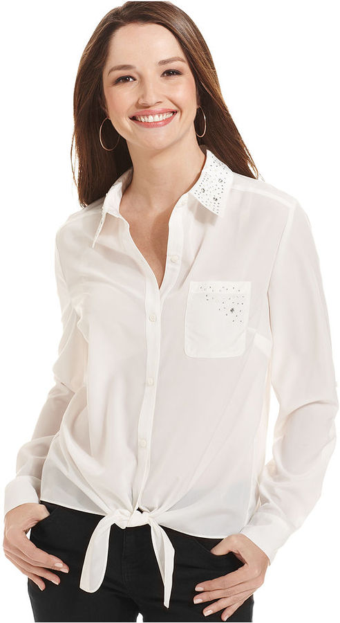 Style&Co. Embellished Button-Front Shirt