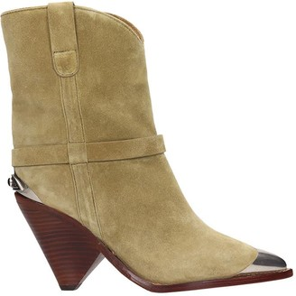 Isabel Marant Lamsy High Heels Ankle Boots In Beige Suede