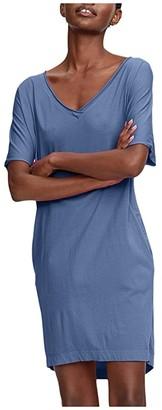 Michael Stars Cara Cotton Modal V-Neck Tee Dress (Lake) Women's Clothing