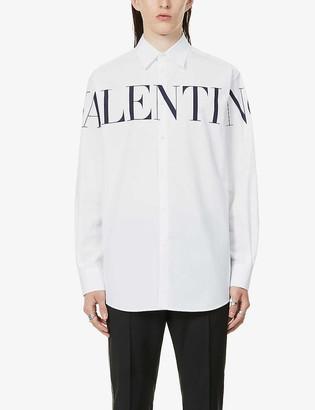 Valentino Logo-print cotton-poplin shirt