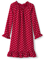 Classic Girls Flannel Printed Nightgown-Rich Red Snowflakes