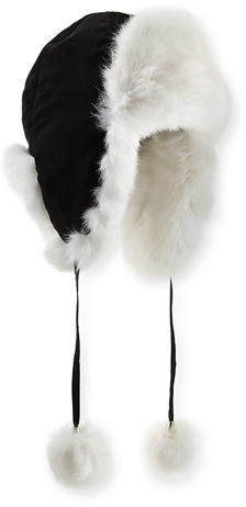 Adrienne Landau Rabbit Fur Trapper Hat
