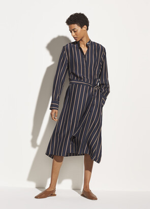 Vince Silky Stripe Panel Dress