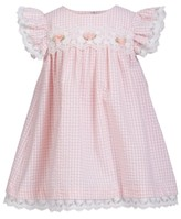 Bonnie Baby Baby Girls Tiered Chambray and Lace Dress