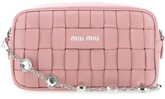 Miu Miu Woven Embellished Strap Crossbody Bag