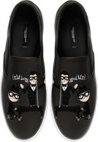 Dolce & Gabbana Designers Patch Leather Slip-On Sneakers