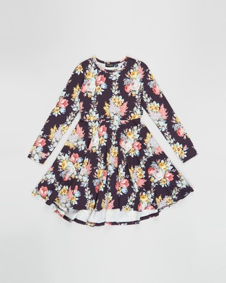 Rock Your Kid Midnight Chintz Long Sleeve Waisted Dress - Kids
