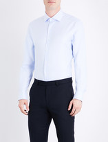 Corneliani Micro herringbone-pattern tailored-fit cotton shirt
