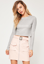 Missguided Silver Glitter Ribbed Crop Top