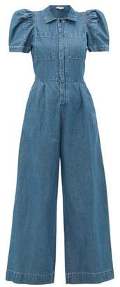 Sea Piper Puff Sleeve Cotton Blend Chambray Jumpsuit - Womens - Denim