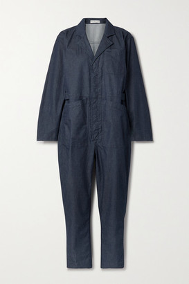 Alex Mill Standard Cropped Cotton-blend Chambray Jumpsuit - Indigo