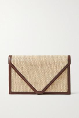 Hunting Season Envelope Leather-trimmed Fique Clutch - Dark brown