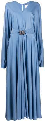 Valentino Rhinestone-Embellished Belted Long Dress