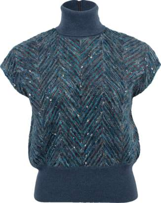 Brunello Cucinelli Dazzling Chevron Embroidery Sweater
