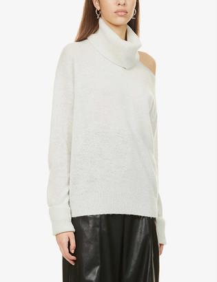 Paige Raundi turtleneck cut-out metallic-knit jumper