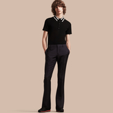 Burberry Wide Leg Mohair Wool Tailored Trousers