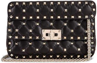 Valentino Rockstud Leather Spike Chain Shoulder Bag in Black | FWRD
