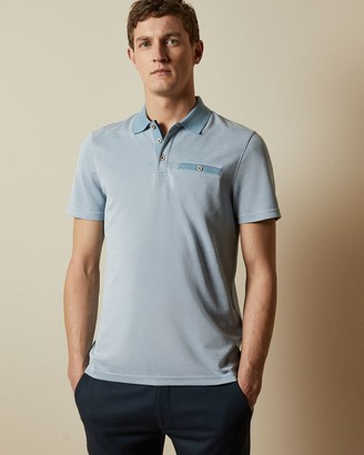 Ted Baker Flat Knit Oxford Polo Top