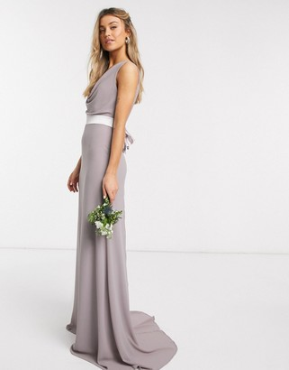 TFNC bridesmaid cowl neck bow back maxi dress in grey