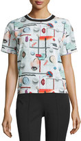 Opening Ceremony Niko High Gloss Printed Top, White/Multicolor