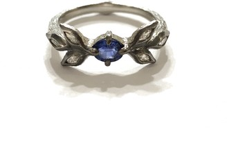 Cathy Waterman Blue Sapphire Marquise 3 Leaf Platinum Ring