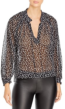 Elan International Star Print Peasant Top