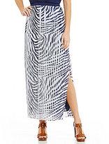 MICHAEL Michael Kors MICHAEL Michael Plains Zebra Printed Georgette Pleated Side Slit Maxi Skirt
