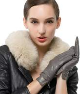 Nappaglo Women's Lambskin Leather Gloves Winter Warm Simple Long Fleece Lining Gloves