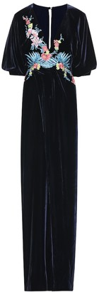 Costarellos Embroidered velvet gown