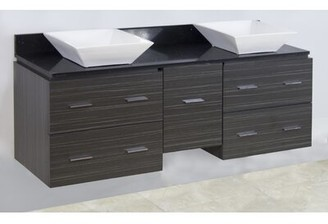 "American Imaginations 60"" Double Modern Wall Mount Bathroom Vanity Set Hardware Finish: Brushed Nickel"
