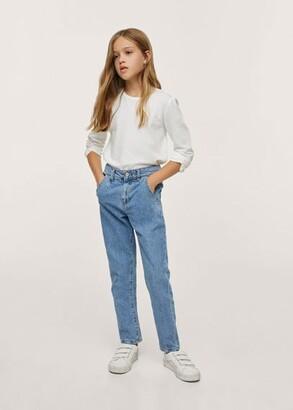 MANGO Waist straight Slouchy jeans medium blue - 7 - Kids