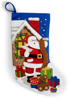 "Holiday Lane 19"" Crewel Stitch Santa Stocking"