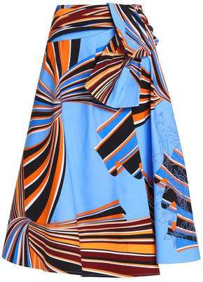 Emilio Pucci Wrap-effect Printed Stretch-cotton Midi Skirt