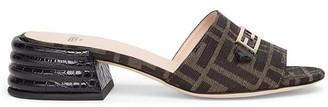 Fendi Brown fabric slides