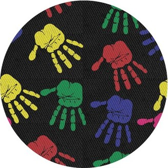 Zoomie Kids Baird Patterned Black/Red/Green Area Rug Rug Size: Round 3'