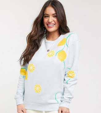 We Are Hairy People sweatshirt with hand painted lemons in organic cotton
