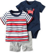 Carter's 3-Pc. Cotton Striped T-Shirt, Crab Bodysuit & Shorts Set, Baby Boys (0-24 months)
