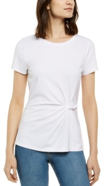 INC International Concepts Inc Petite Twist-Front T-Shirt, Created for Macy's