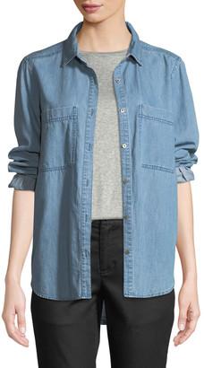 Eileen Fisher Petite Organic Cotton Denim Pocket Shirt