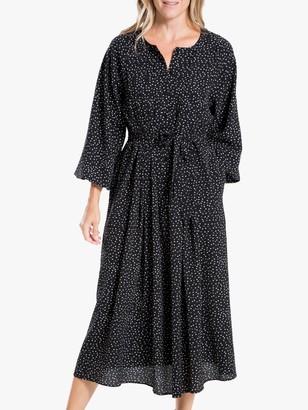 Max Studio Mini Dot Print Dress, Black/Ivory