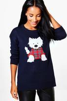 Boohoo Libby Split Hem Scotty Dog Applique Christmas Jumper