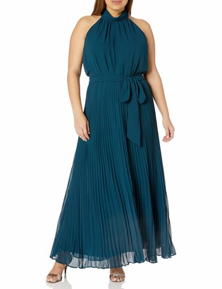 City Chic Women's Apparel Women's Plus Size Halter Necked Dress with Pleated Maxi Skirt and tie Belt