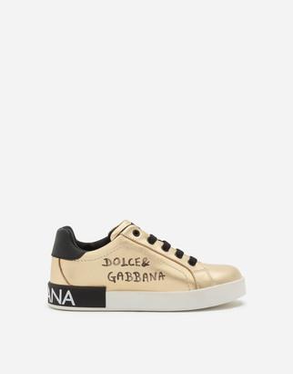 Dolce & Gabbana Laminated Lambskin Portofino Custom Sneakers With Logo Print